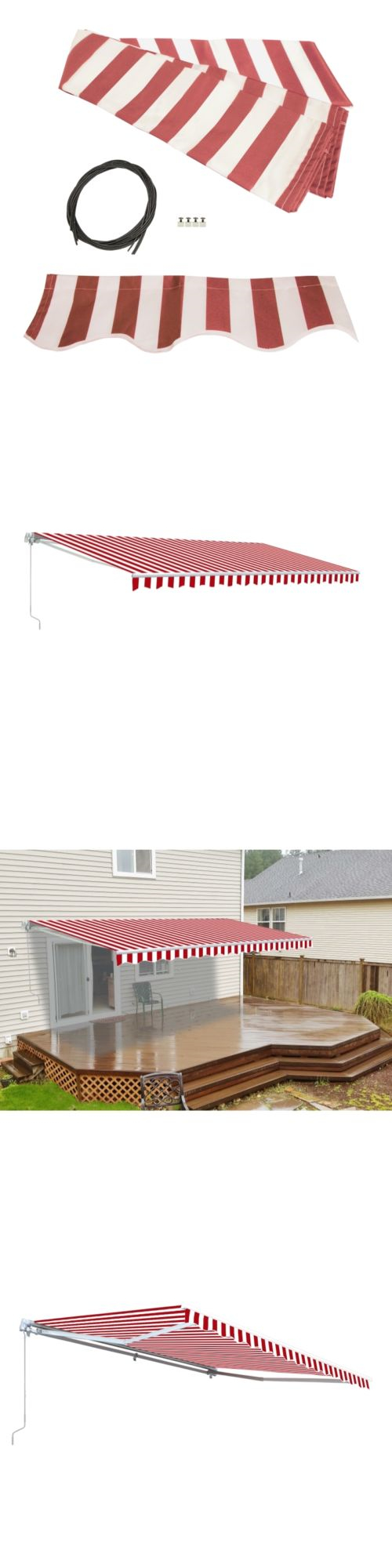 Awnings And Canopies 180992 Aleko Fabric Replacement For 12X10 Ft Retractable Awning Red White