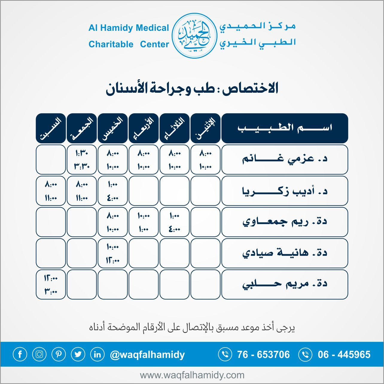 Pin by WaqfAlHamidy on دوام الأطباء 112018 Medical