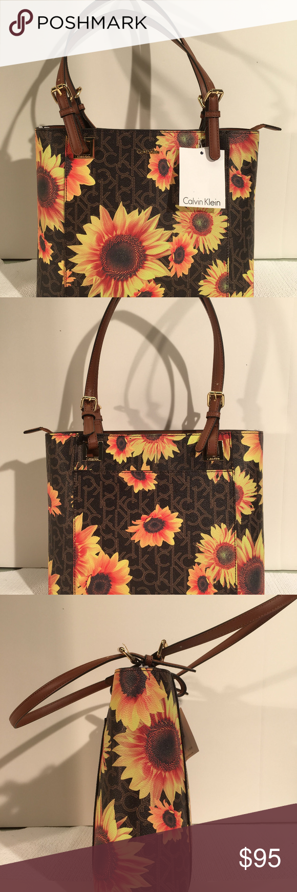 45940fb7558 Calvin Klein Sunflower Tote Shopper NWT AUTHENTIC NEW NWT CALVIN KLEIN  SUNFLOWER YELLOW BROWN TOTE H8ABJ6UW