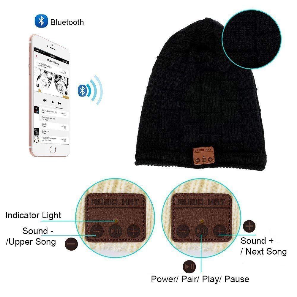 15b82ec4009e6 Bluetooth inalámbrica Bluetooth gorro de lana sombrero de punto gorro de  música Cap auriculares auricular con