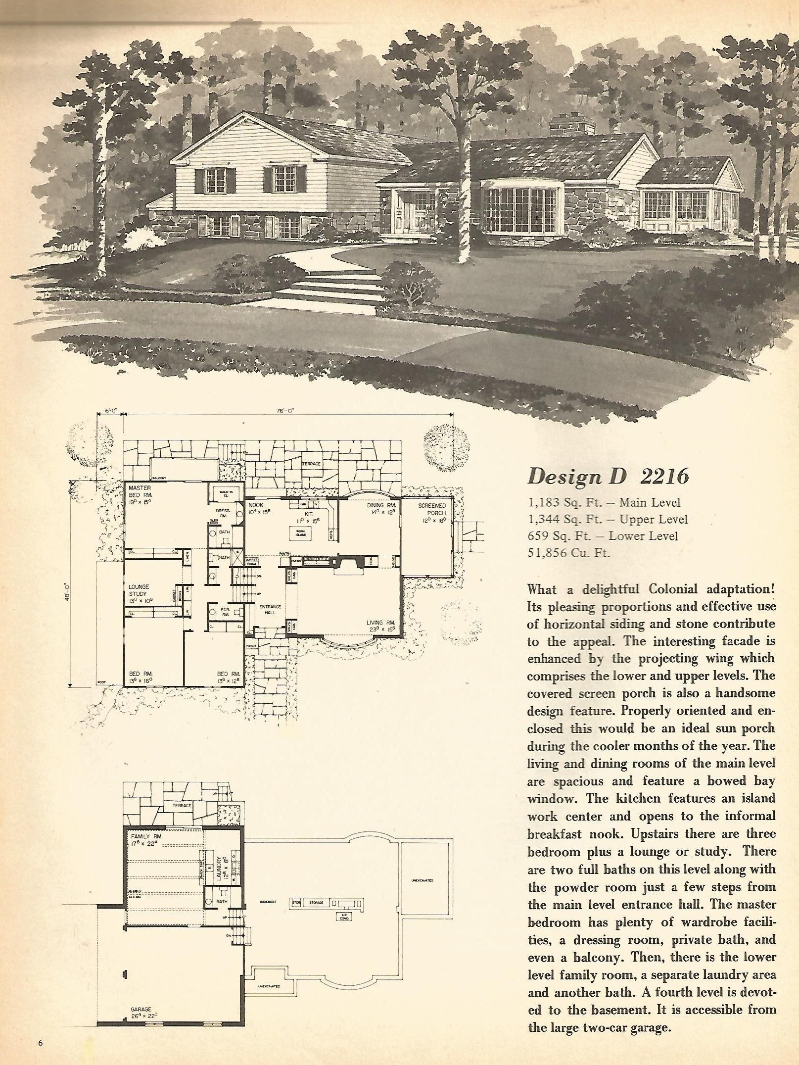 Vintage House Plans Multi Level Homes Part 1 Vintage House Plans Vintage House Spanish Style Homes