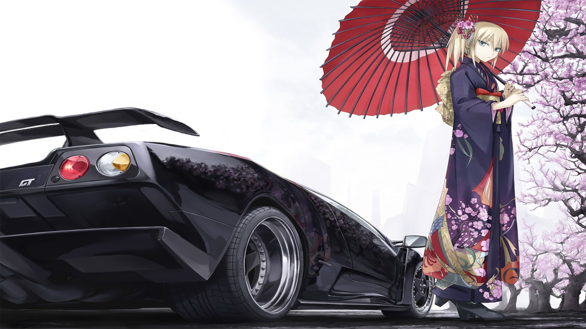 yukata Diablo anime anime girls car