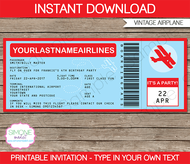 Airplane Boarding Pass Invitations Template  Vintage Biplane