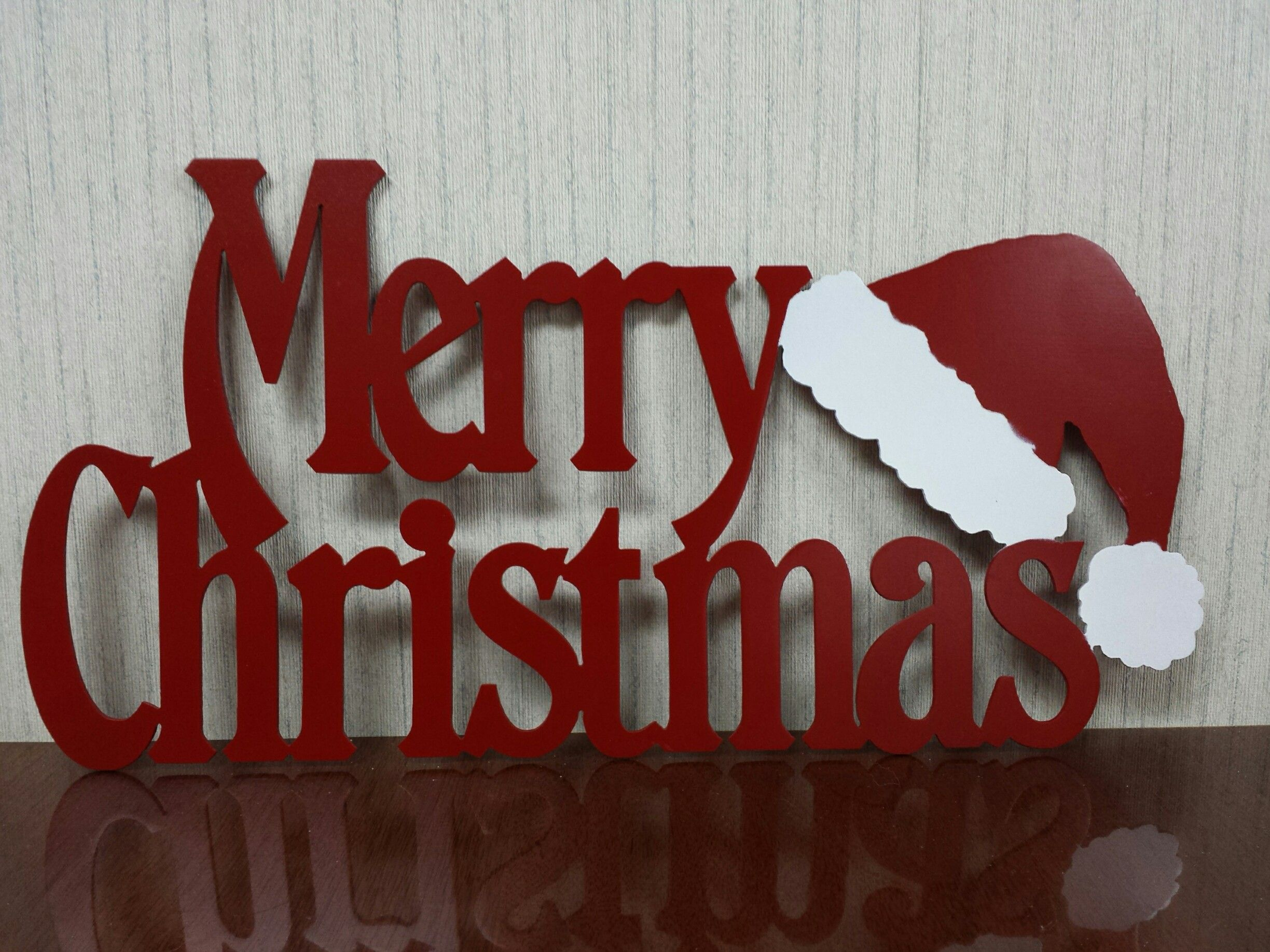 Metal Plasma Cut Merry Christmas Sign With Santa Hat Holiday