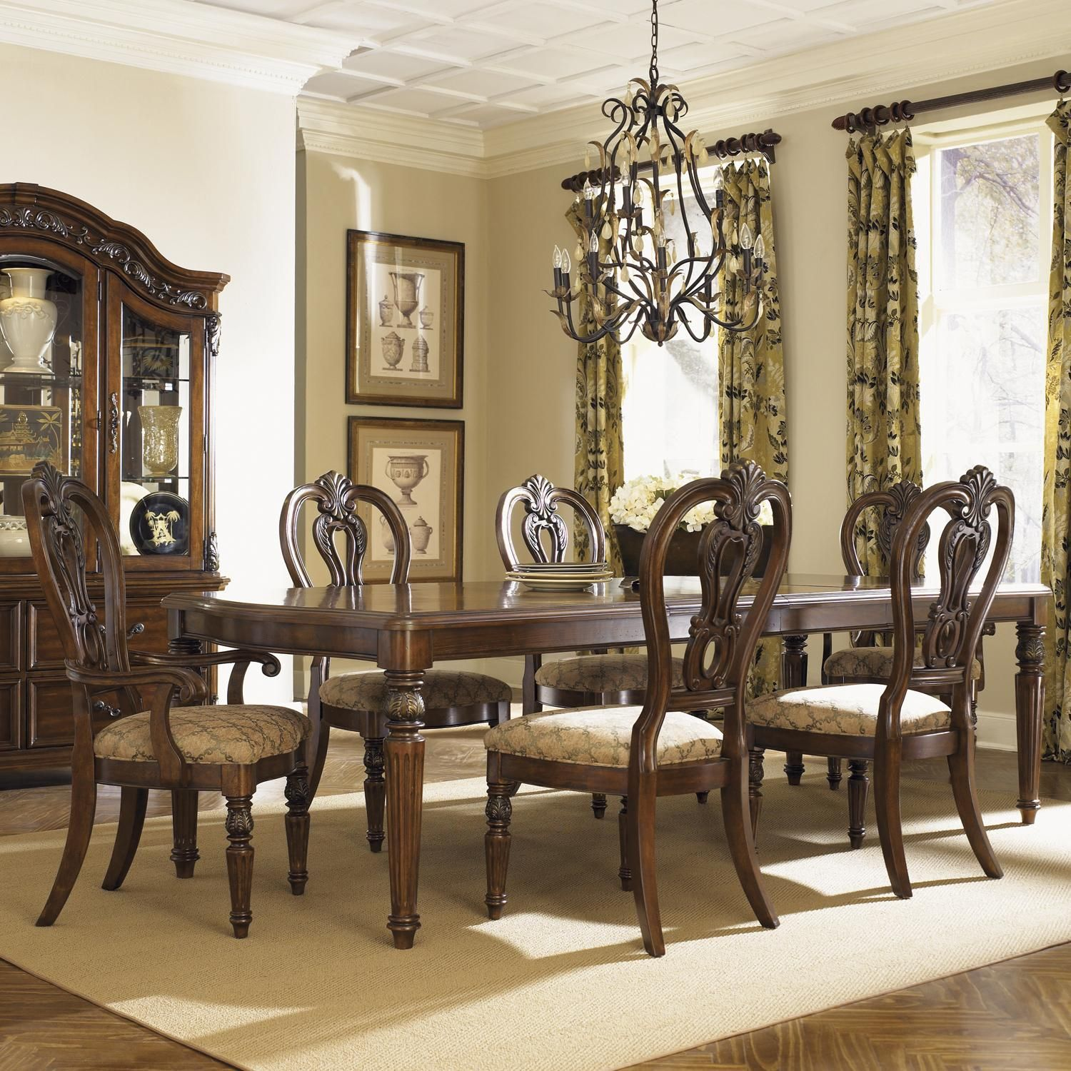 Traditional Dining Room Set: Messina Estates Seven Piece Traditional Dining Table And
