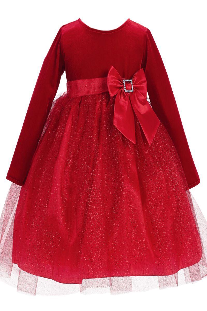 Red long sleeve velvet u glitter tulle girls holiday dress m