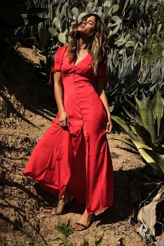 $85 Perfect Summer Beach Fitted Bright Red Slit Maxi Dress Buttoned Front Cute T-Shirt Bell Sleeves