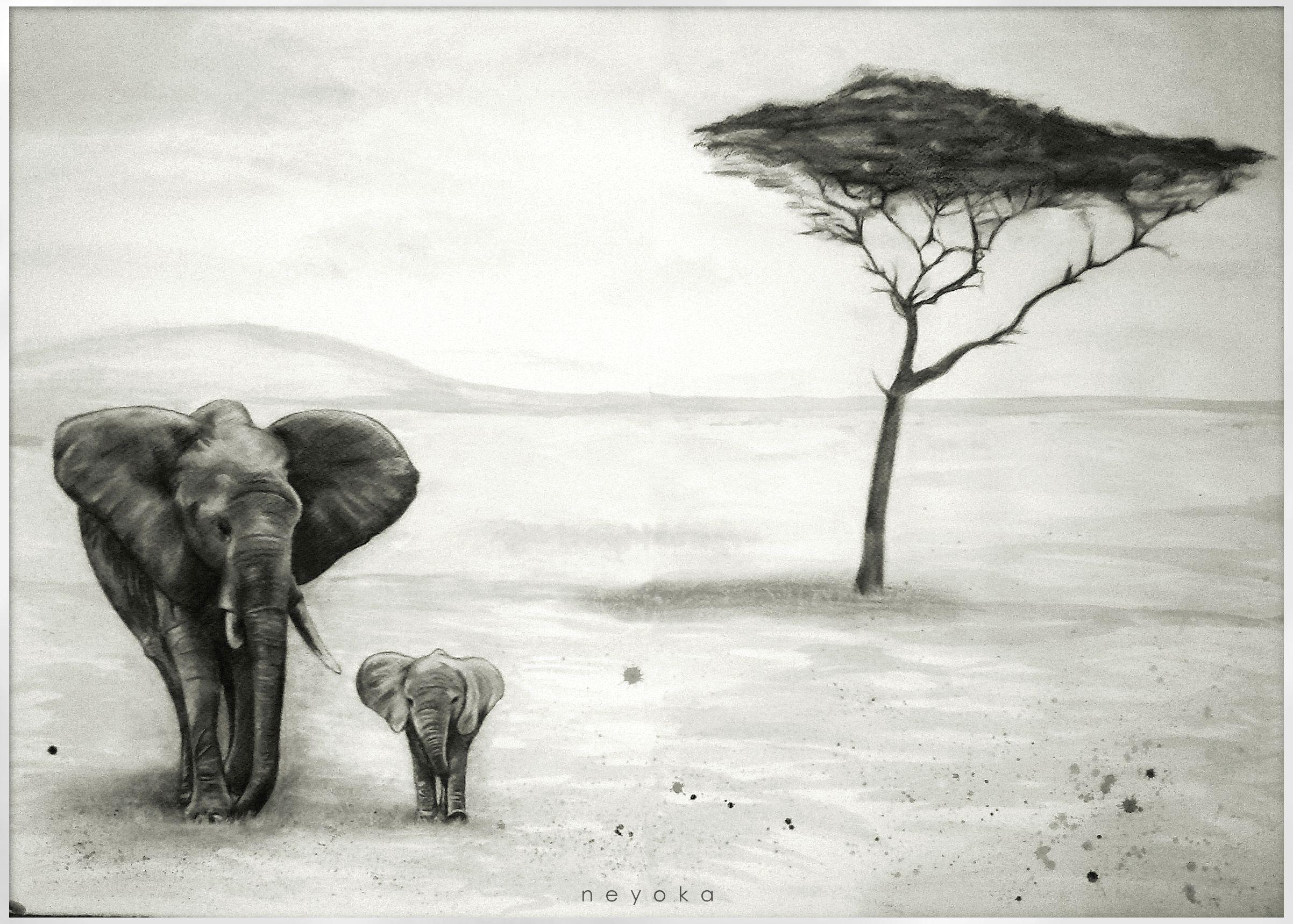 {Elefantes} Dibujo Al Carboncillo Y Acuarela. 140 X 100cm