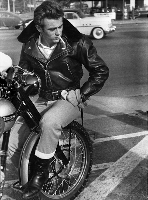 James Dean , leather jacket and Triumph 1950s