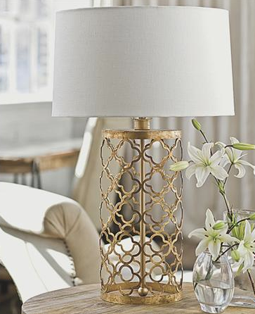 Gold Lamp With A Crisp Classic White Shade I Would Love A Matching Pair Of Lamps For Bedroom Need To Match Gold Mirror Cage Table Lamp Gold Lamp Home Decor