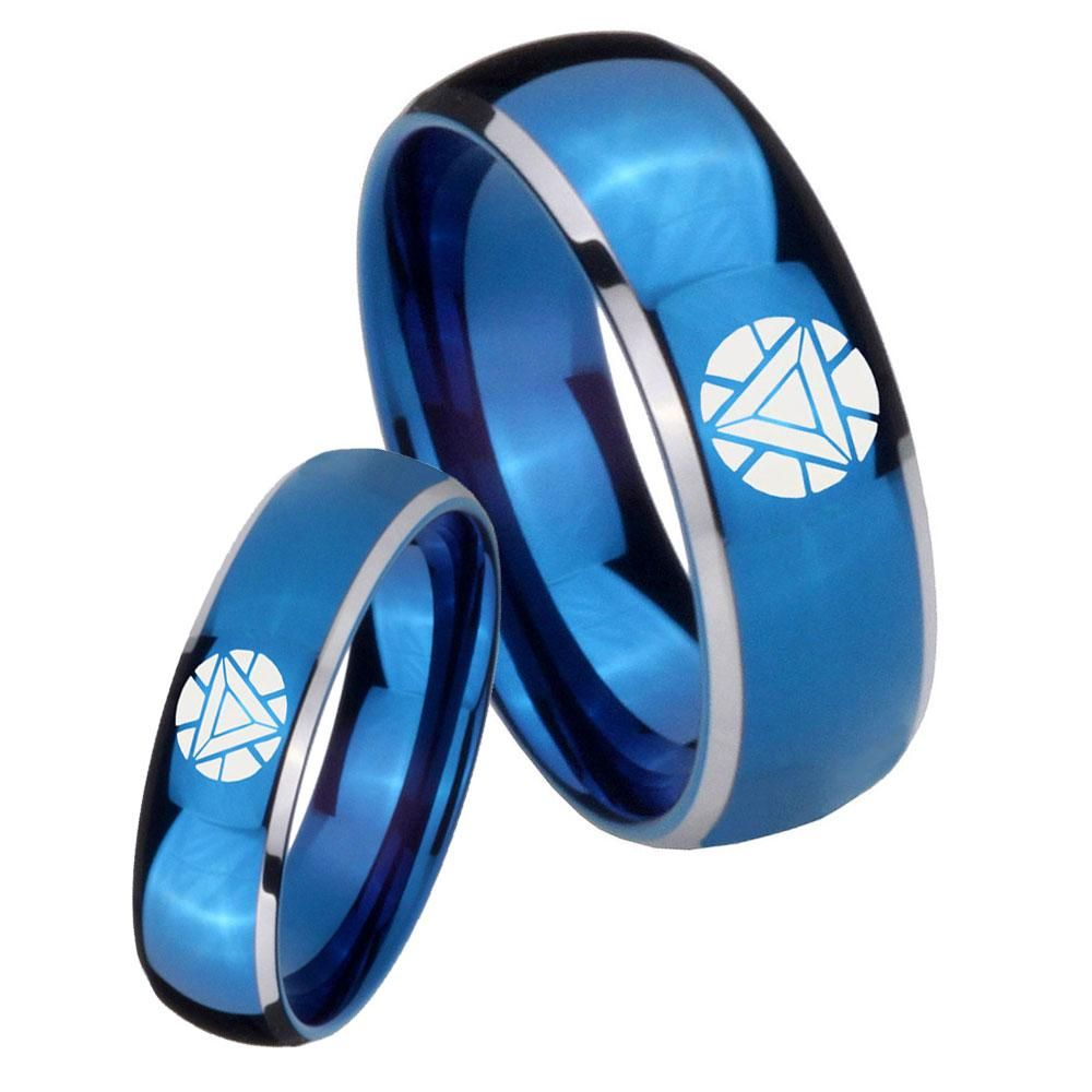 His Hers Iron Man Art Reactor Dome Blue 2 Tone Tungsten Men S Band Set We Offer Mens Wedding Rings Tungsten Tungsten Mens Rings Mens Wedding Bands Tungsten