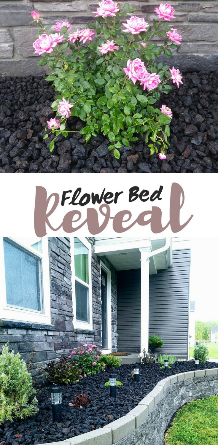 front yard flower bed makeover to add curb appeal with lava rock and a stone block retaining wall. + flowerbed + landscaping + curb appeal  Flower bed makeover in full progress + raised bed + in front of house  + garden + diy + rose #flowerbeds