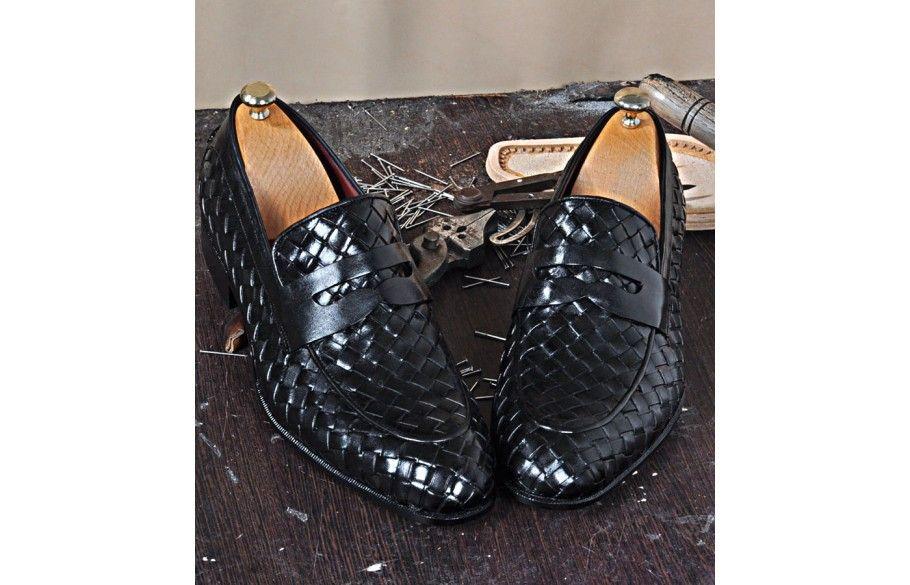 01409a10e3b TucciPolo Digno-K Stylish Black Chequeboard Weave Calfskin Handmade Loafer  Italian Leather Mens Shoe