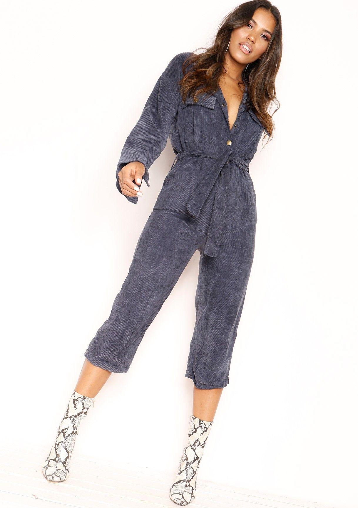 92ca1a87ea1 Missyempire - Zandra Blue Corduroy Utility Jumpsuit