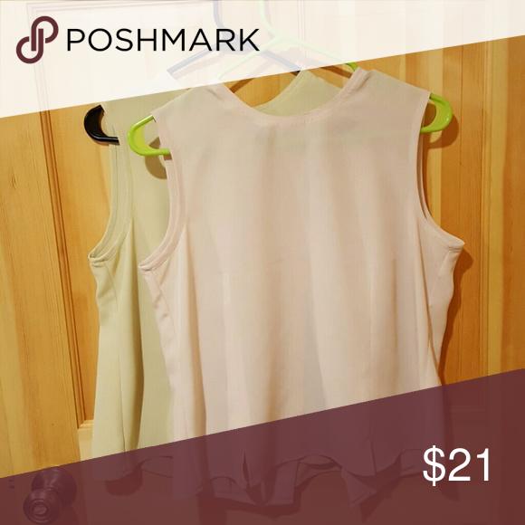 Karen Scott Formal Shirts Green and Creme; 100% Polyester; Button Down Back; Good Condition Karen Scott Tops