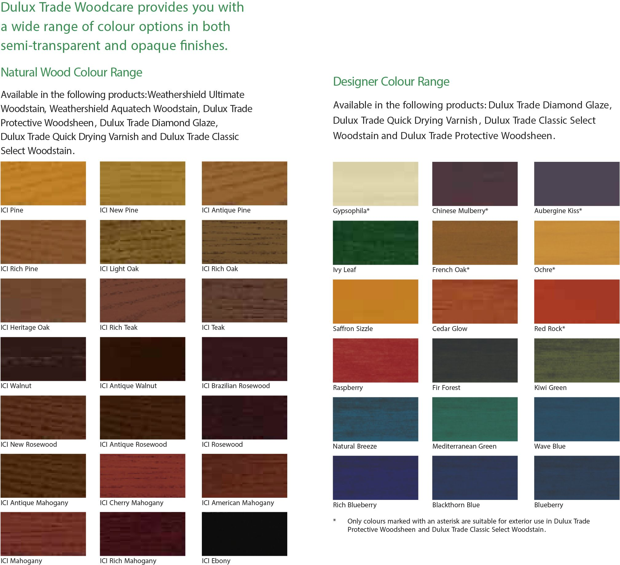 Dulux Trade Woodcare Translucent Colour Chart Dulux Colour Chart 2015 Paint Color Chart Wood Stain Colors Staining Wood