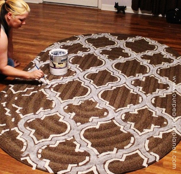 How To Stencil Paint Carpet Painting Painted Rug