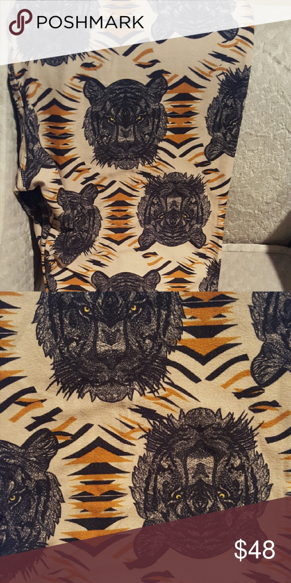 b824195a8ec202 Lularoe black tiger face leggings TC NWT. Black Tiger Face Leggings TC.  Smoke free home. LuLaRoe Pants Leggings