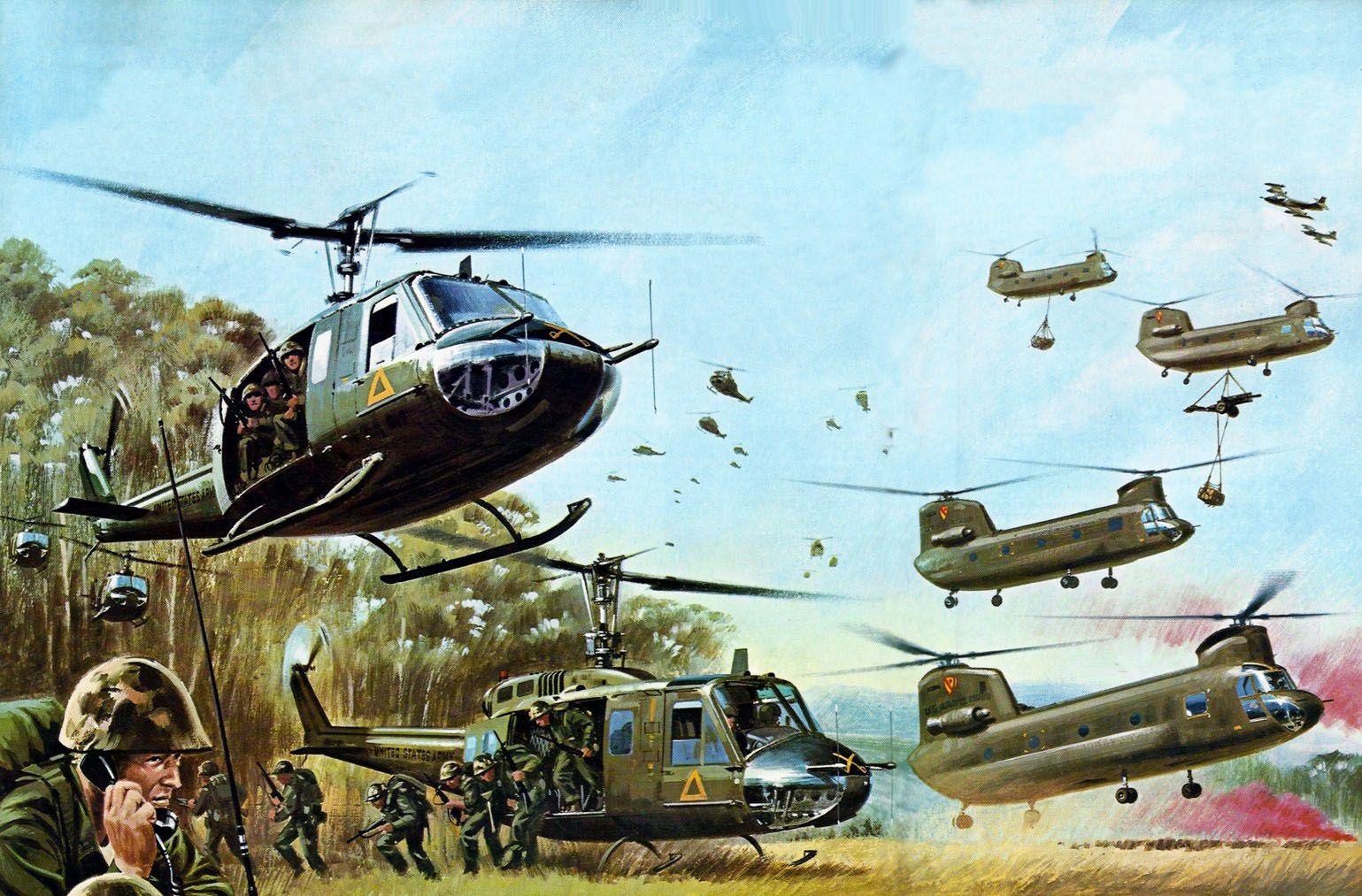Us Helicopters In Battle Vietnam Art Cold War Military Vietnam War Photos