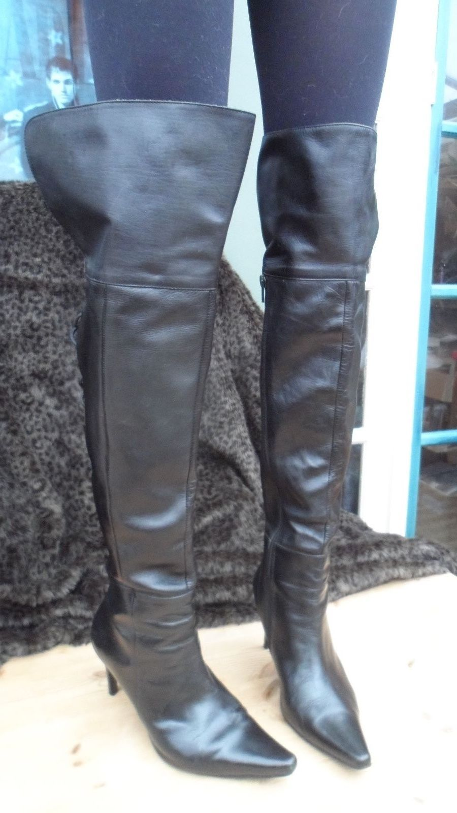 BLACK LEATHER THIGH HIGH OVER THE KNEE SPIKE HEEL BOOTS ...