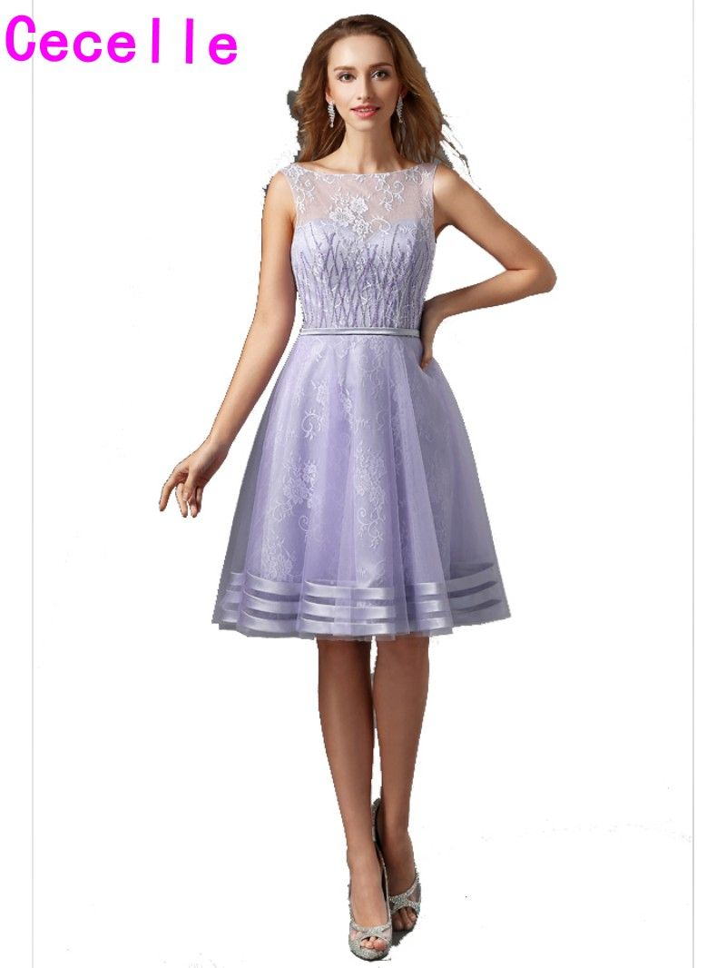 Click to Buy << Lilac A Line Lace Cocktail Dresses Short Sleeveless ...