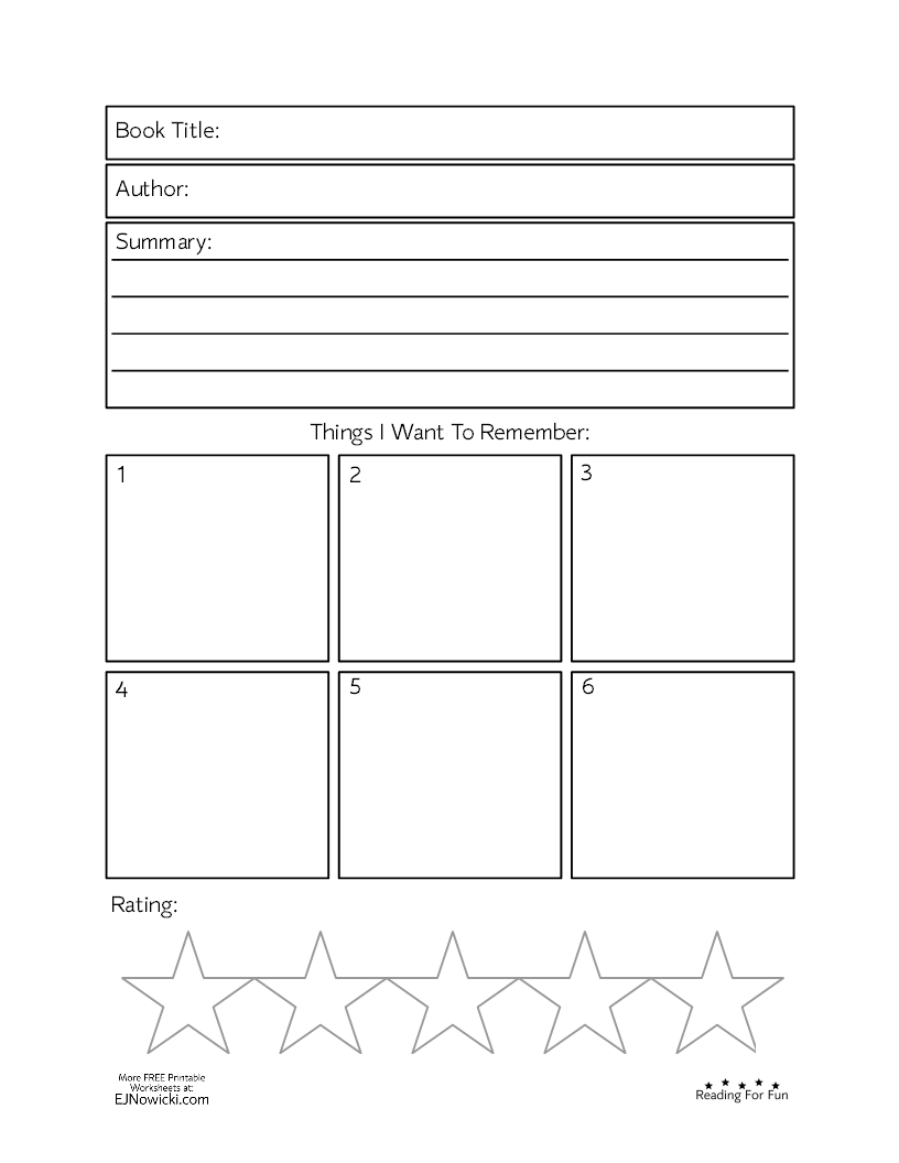 Book Worksheet Things To Remember Fun Worksheets Middle Grade Books Remember [ 1056 x 816 Pixel ]