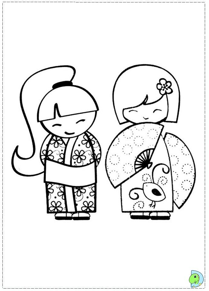 Kokeshi Coloring Page Japanese Embroidery Kokeshi Dolls Paper Embroidery