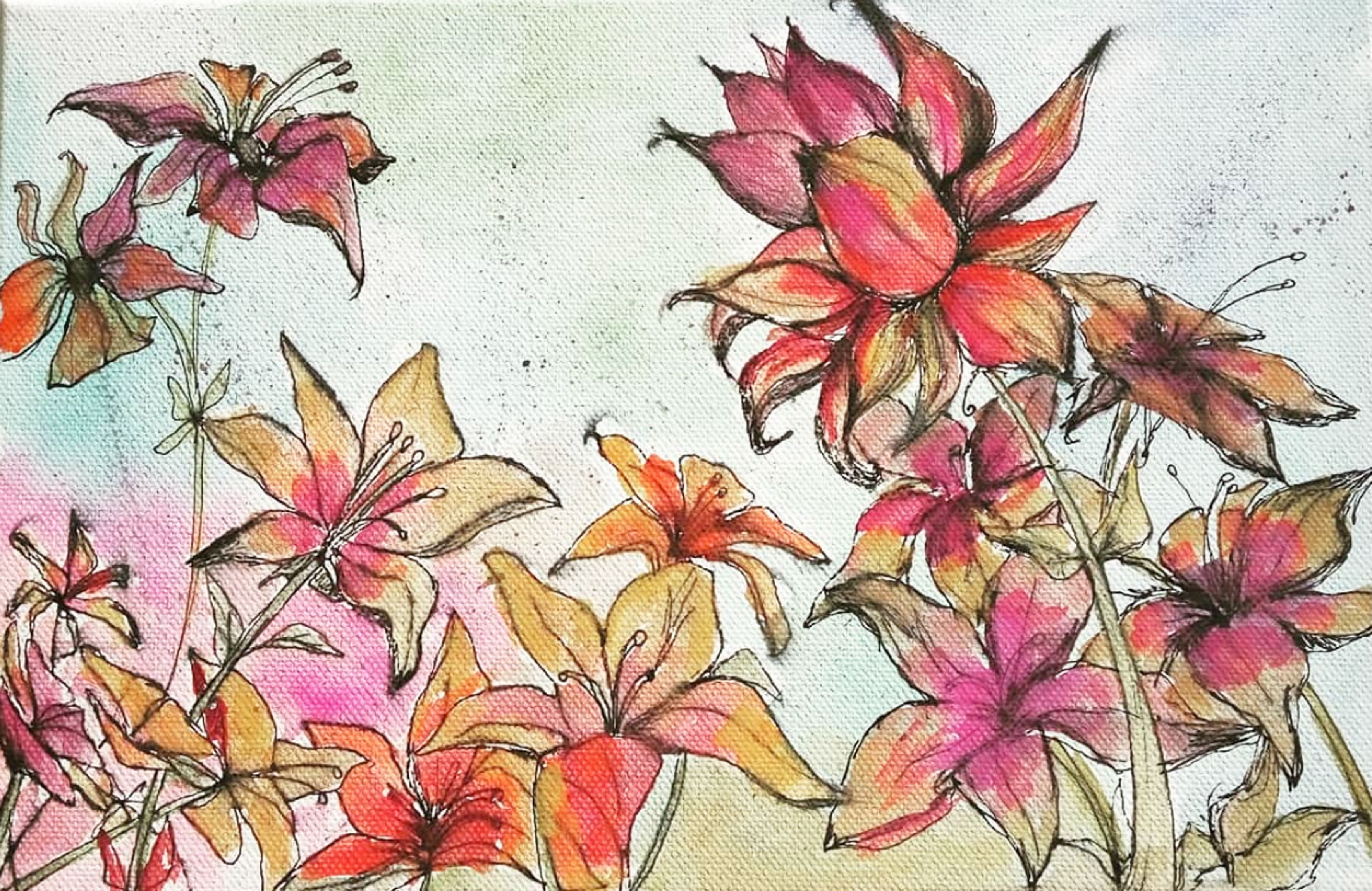 Autumn Bloom | Watercolor and ink, Original watercolor ...