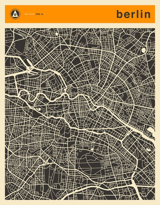 berlin map art print escapes on the road pinterest berlin poster und stadtplan berlin. Black Bedroom Furniture Sets. Home Design Ideas