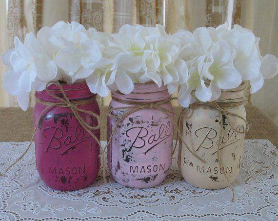 Sale 3 Pint Mason Jars Painted Mason Jars Wedding Centerpieces