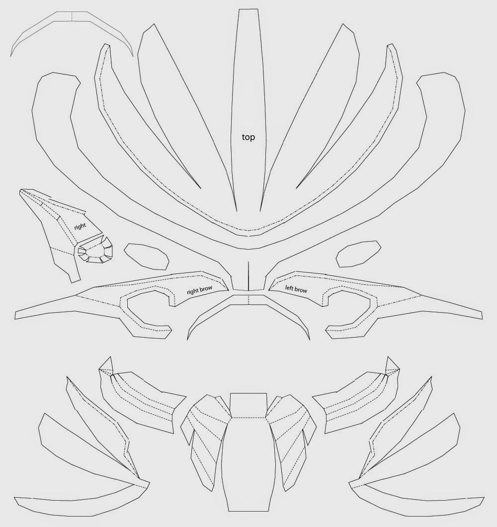 Predator Costume Mask Cardboard DIY (template) | Máscaras, Mascaras ...
