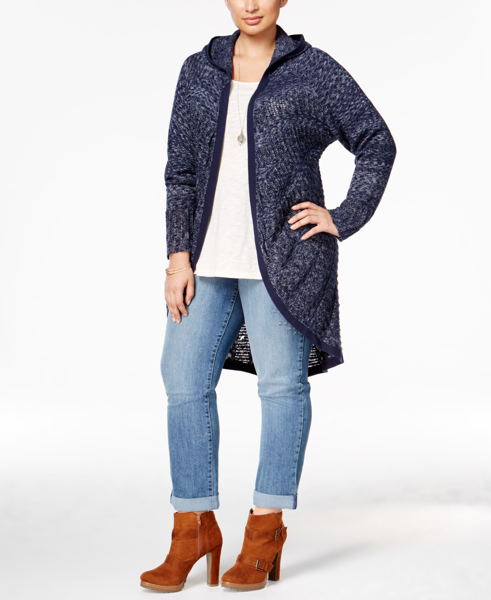 Style & Co. Plus Size Open-Front Hooded Cardigan, Only at Macy's
