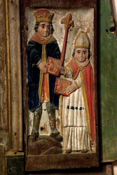 Eligius van Noyon - Eligiusaltaar : twee gouden zadels voor de koning. ca 1660, houtsculptuur. Frankrijk, Bretagne, Berven, Chapelle Notre Dame.