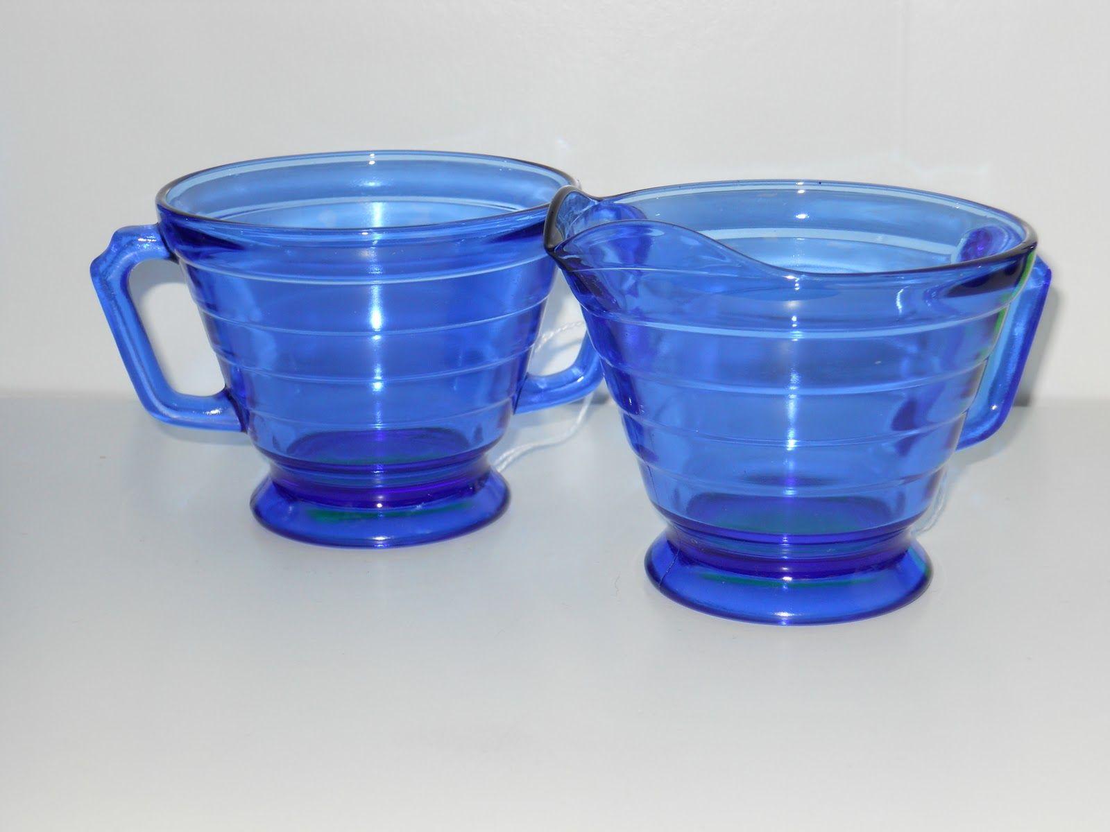 blue sugar and creamer