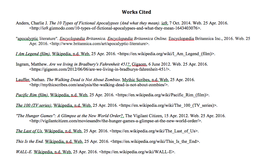 Citation For Examples Of Works Works Cited Pinterest