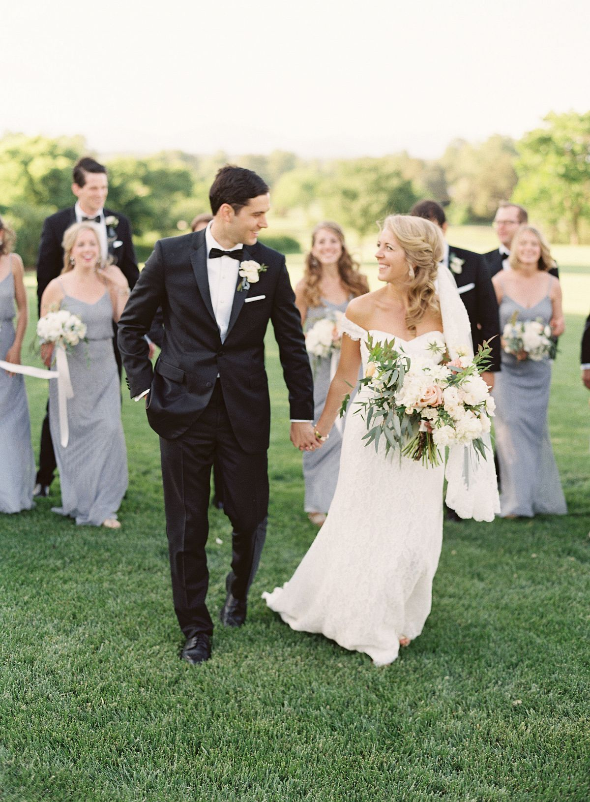 Bluegrey bridesmaids and black tuxes wedding planning pinterest
