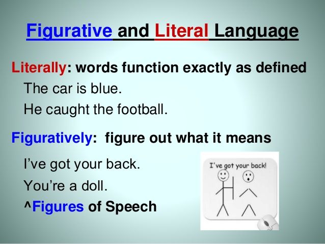 Figurative and Literal Language Literally: words function ...