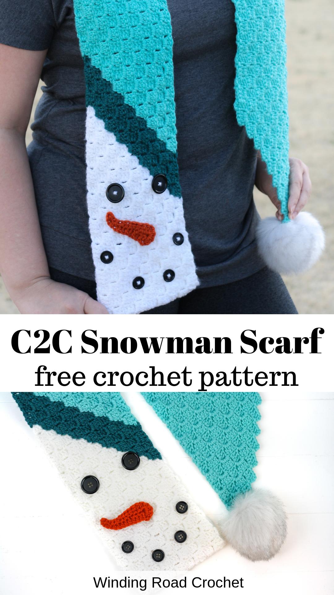 C2C Snowman Scarf Free Crochet Pattern - Winding Road Crochet