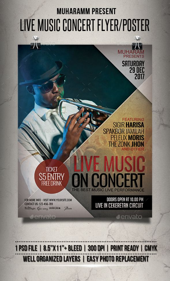 Live Music Concert Flyer / Poster Concert flyer, Event flyers and