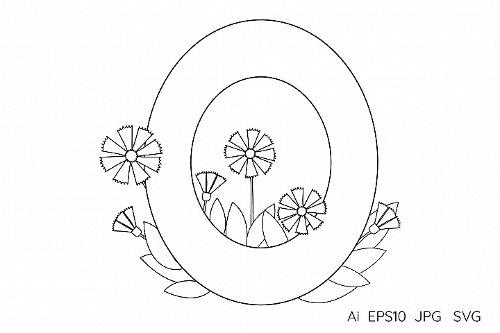 Numeral Number Zero Flowers Coloring Page 232431 Coloring Pages Design Bundles Coloring Pages Numeral Design Bundles