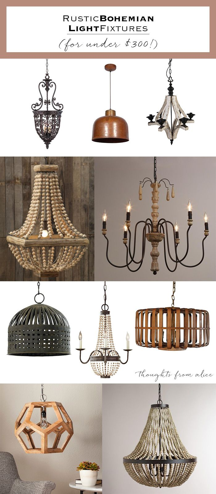 Rustic Bohemian Light Fixtures under $300  sc 1 st  Pinterest & Rustic Bohemian Light Fixtures under $300 | Bohemian Lights and ...