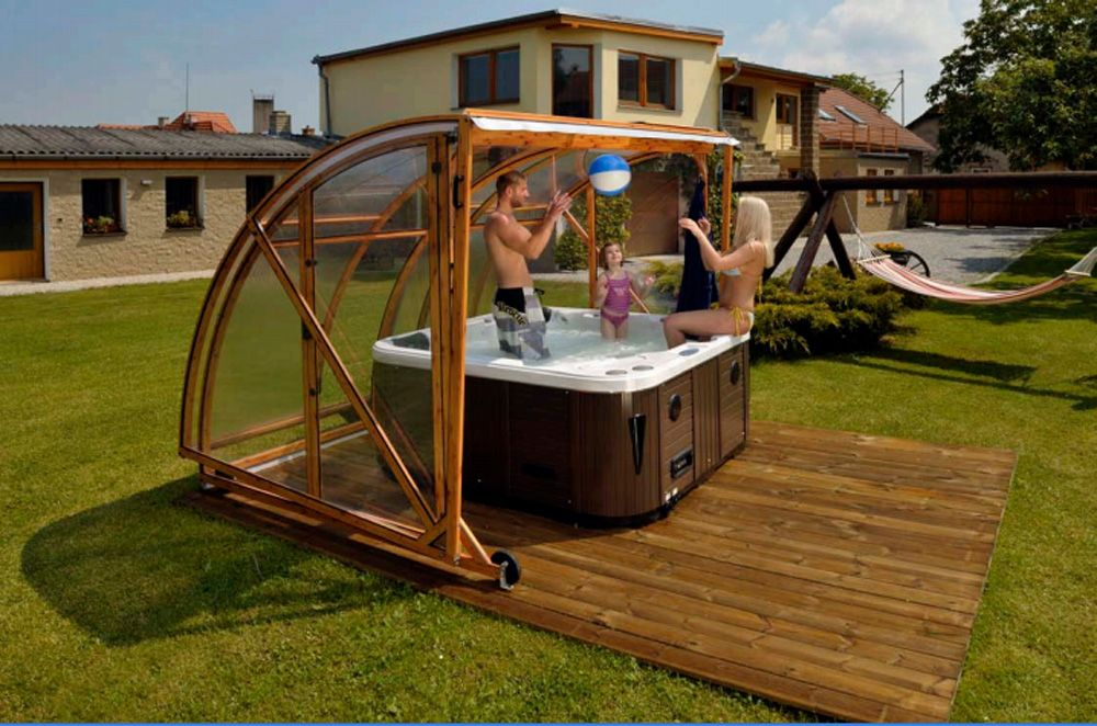 Diy Hot Tub Get More Use Out Of Your Hot Tub With One Of Our New Mobile Klasik Spa Hot Tub Outdoor Tub Enclosures Hot Tub Gazebo