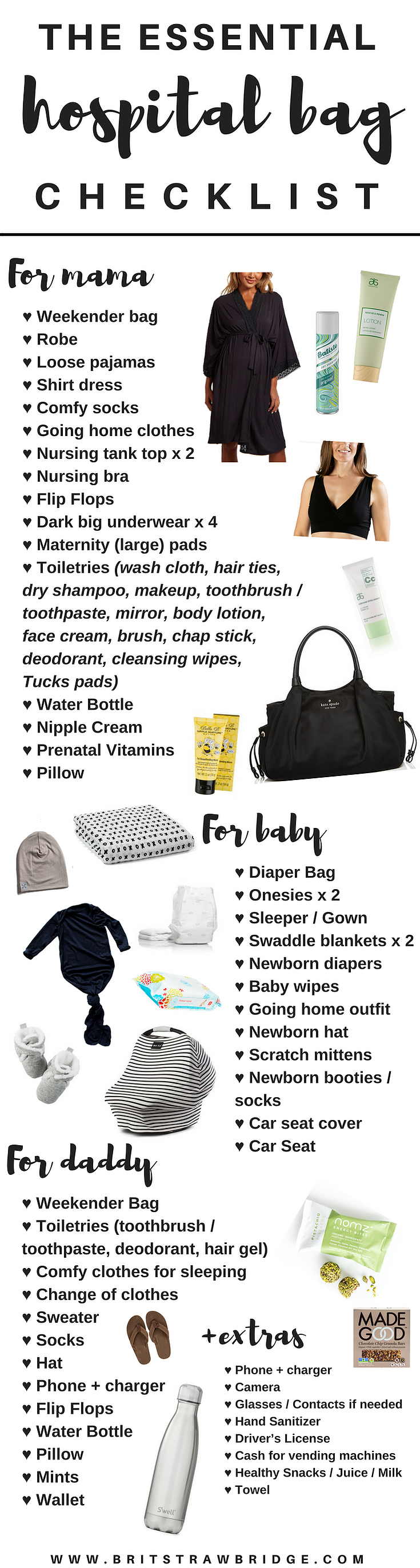 The Essentials Hospital Bag Checklist For Mama Daddy Baby Free Printable Paingideas