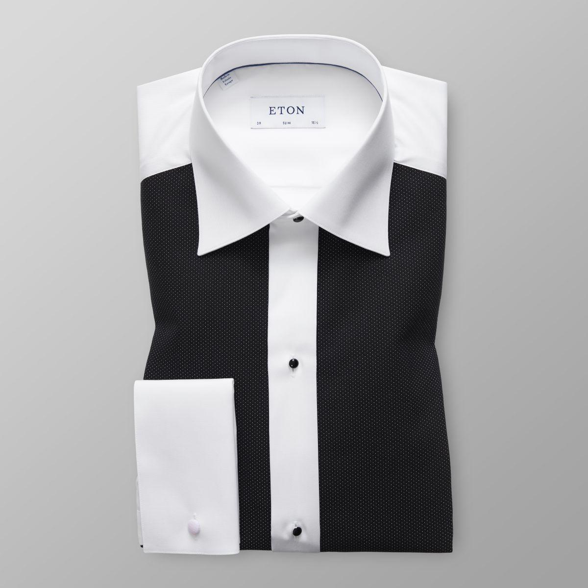 Black pique evening shirt slim fit eton shirts us