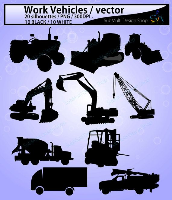 Work Vehicle Work Vehicles Silhouette Svg File Construction Machines Silhouettes Printable Vehicle Silhouette Vector Eps Silhouette Svg Silhouette Vector Silhouette