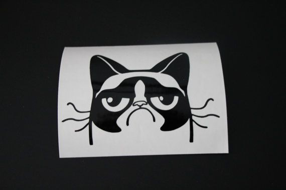Grumpy Cat Vinyl Decal Sticker Grumpy Cat Grumpy By EntropySigns - Vinyl decal cat pinterest