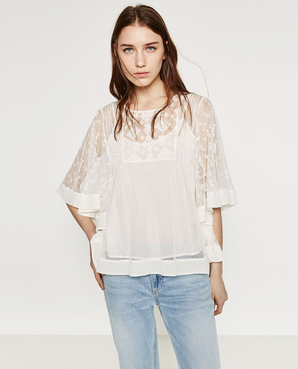 35947dd8 FRILLED SLEEVE TOP-Blouses-TOPS-WOMAN | ZARA United States Love how romantic  this blouse is!