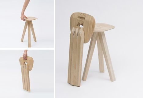 3 Legged Folding Stool Combines Gravity Strength Style Chair Design Wooden Wooden Chair Patterned Chair