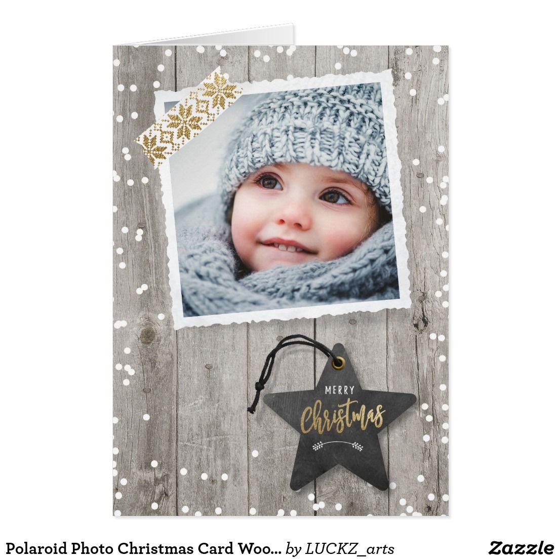 Polaroid Photo Christmas Card Wood Snow