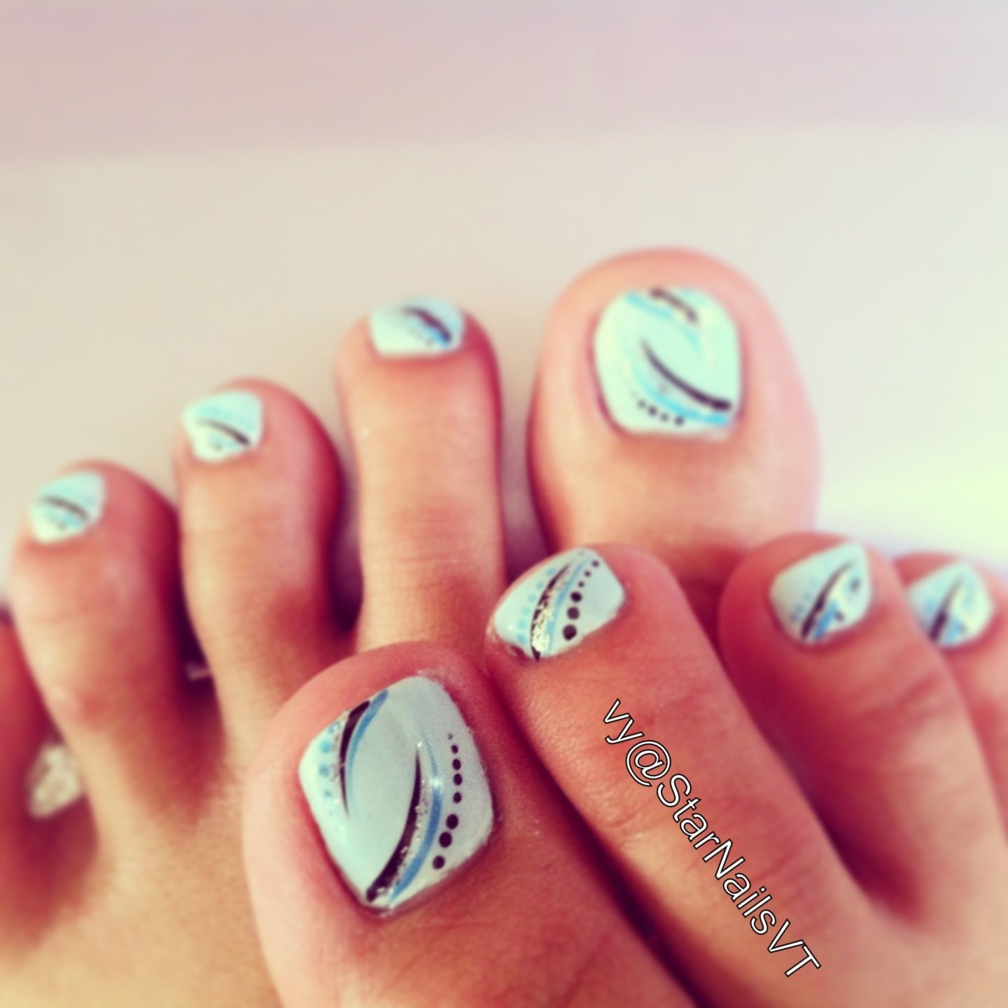 Pedicure Toe Nail Art Light Blue Polish With Black And Blue